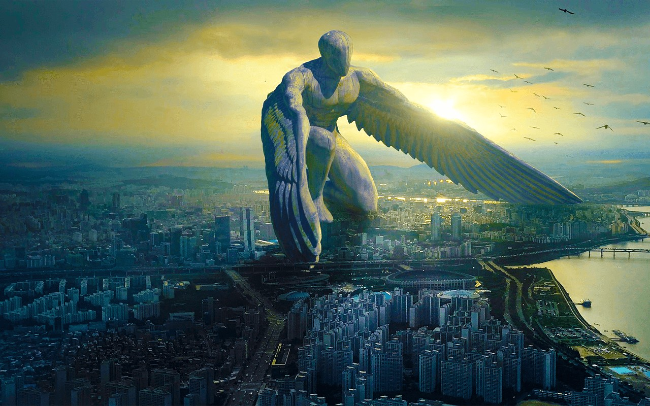 a guardian angel watching over a city