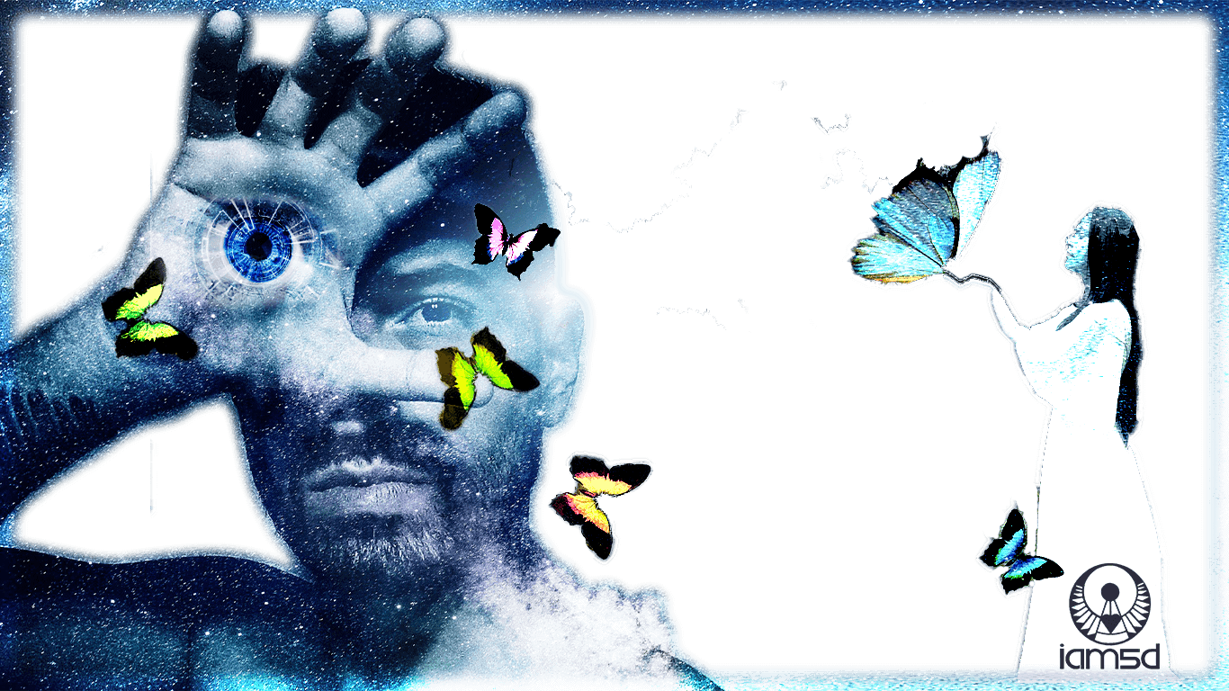 blue space full of stars and a green butterfly