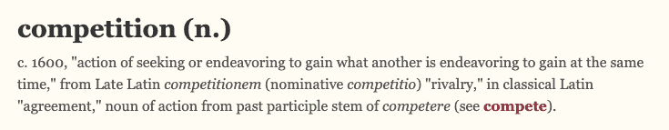 etymology of competition